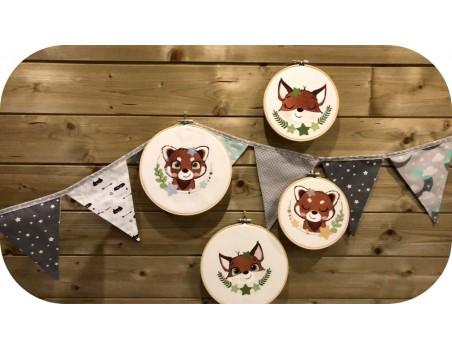 machine embroidery design red panda with star