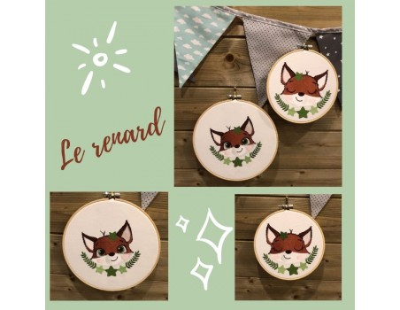 machine embroidery design fox with star