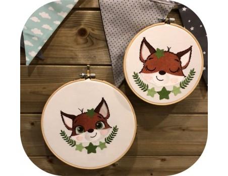 machine embroidery design fox sleeping  with star