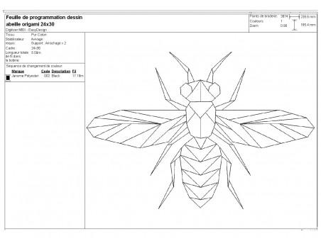 machine embroidery design origami bee