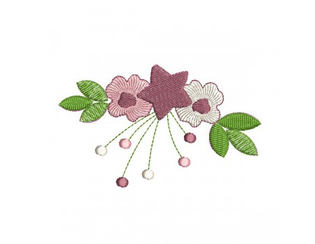machine embroidery design Crown of flowers
