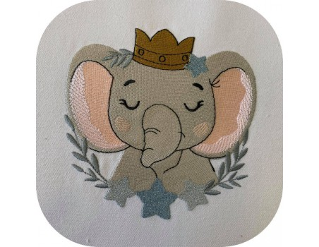 machine embroidery design sleeping elephant  with star