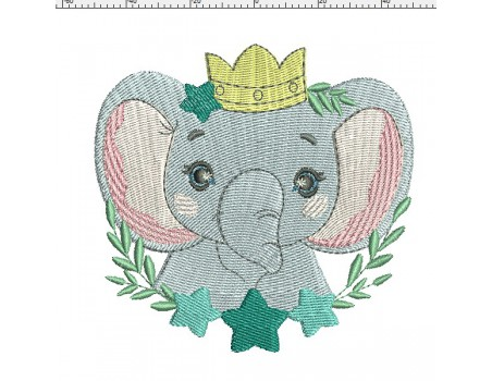 machine embroidery design elephant with star