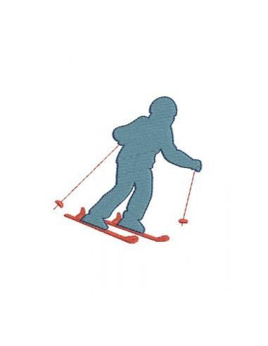 Motif de broderie skieur descente