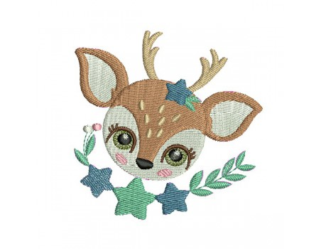 machine embroidery design small wood fawn with star