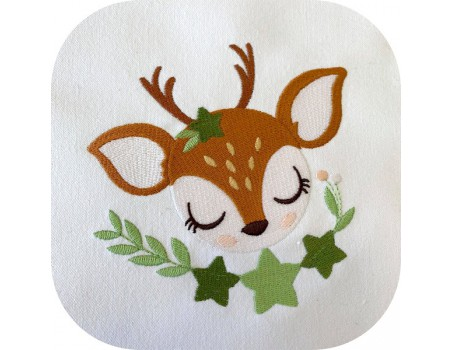 machine embroidery design sleeping small wood fawn  with star
