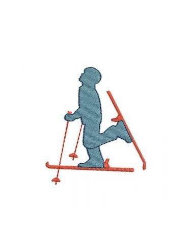 Motif de broderie skieur