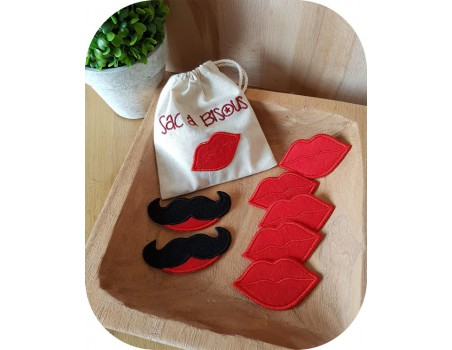 machine embroidery design text kissing bag