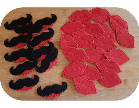 machine embroidery design kisses and mustaches ITH