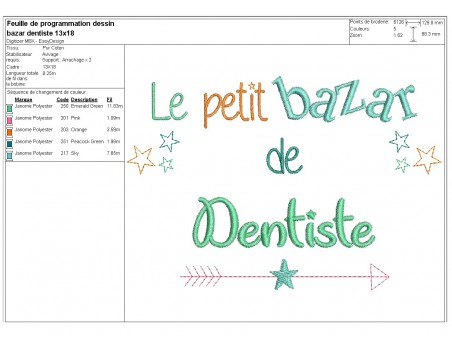 machine embroidery design text dentist Bazaar