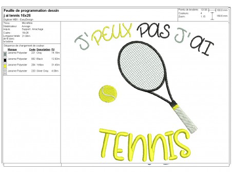 machine embroidery design  i can not  tennis