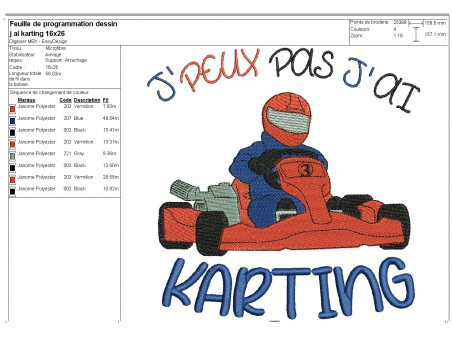 machine embroidery design  i can not  karting