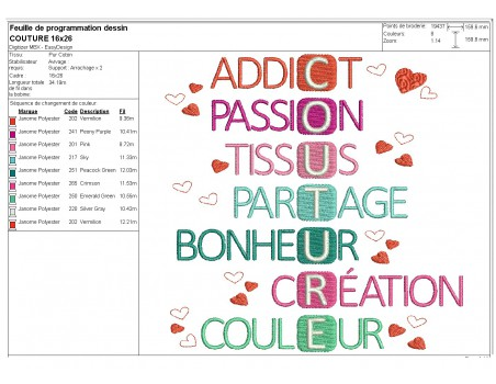 machine embroidery design sewing  acrostic