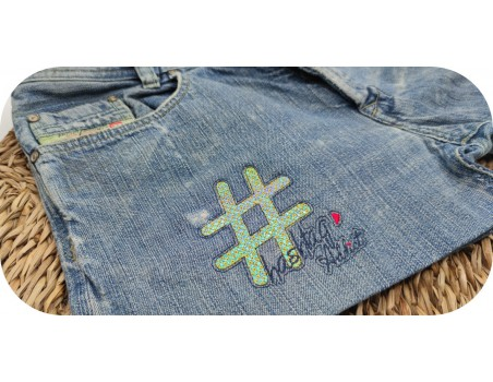 machine embroidery design hashtag addict mylar