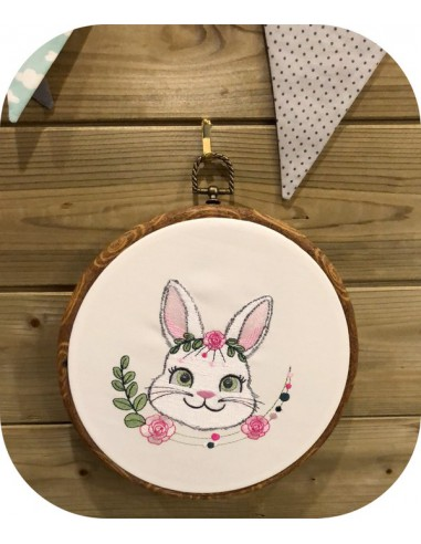 machine embroidery design  rabbit with flowers