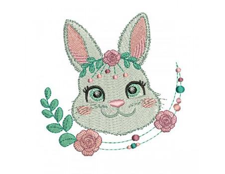 machine embroidery design  rabbit with   flower