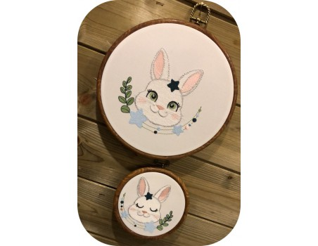 machine embroidery design  rabbit with  star