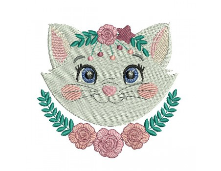 machine embroidery design  cat with  flowers