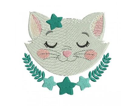 Motif de broderie machine chat endormi avec ses étoiles