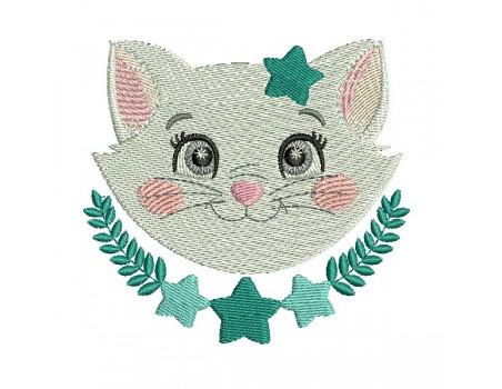 Motif de broderie machine chat avec ses étoiles