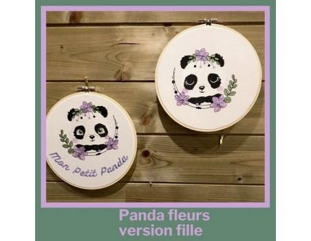 machine embroidery design sleeping panda with  flowers