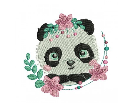 machine embroidery design  panda with  flowers