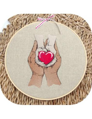 Motif de broderie machine mains coeur maman