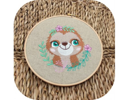 machine embroidery design  sloth with  flowers