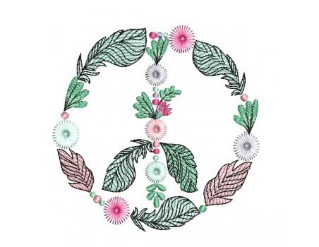Motif de broderie machine peace and love pompons franges boho