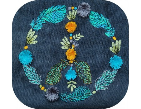 machine embroidery design boho peace and love with plums mylar and fringes tassels
