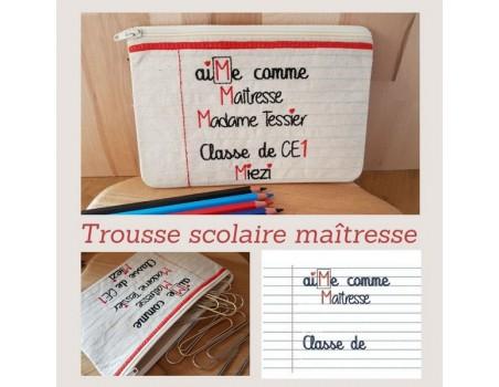 machine embroidery  school teacher pencil case  ith