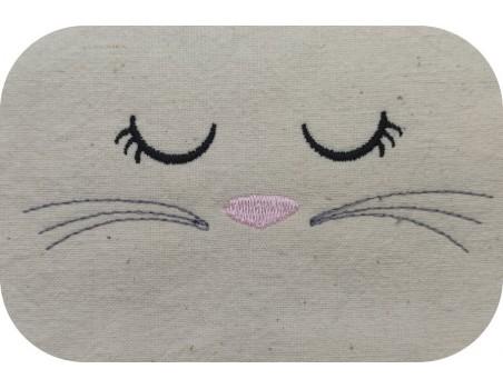 machine embroidery design free sleeping rabbit's head