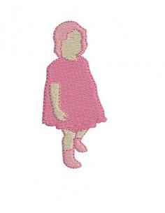 Motif de broderie silhouette bébé fille
