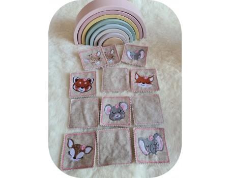 machine embroidery design ith flower animal heads girl montessori memory