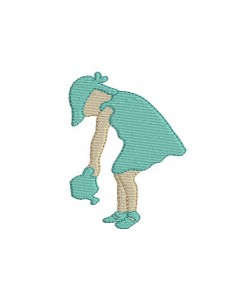 Motif de broderie silhouette fillette