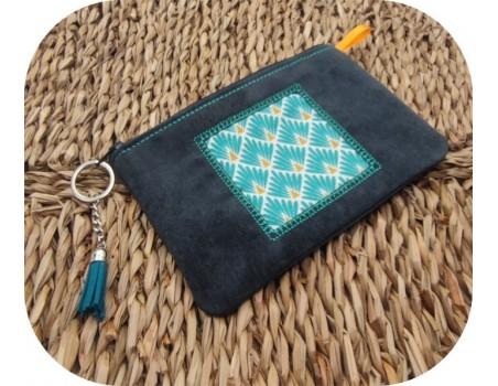 machine embroidery  pencil case  applique square ith