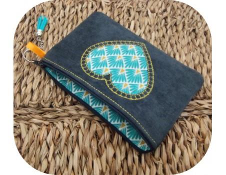 machine embroidery  pencil case applique heart  ith