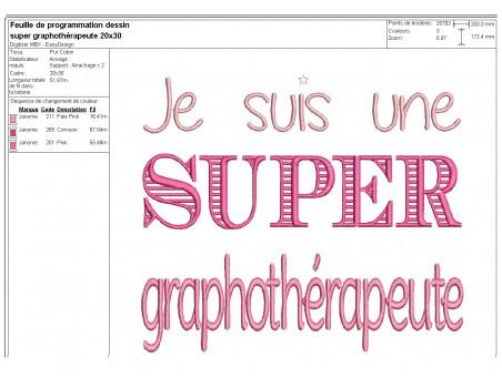 Machine Embroidery design Super graphotherapeute