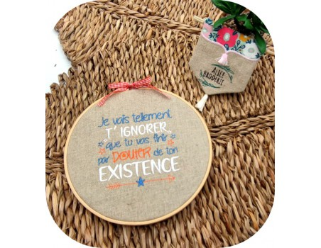 machine embroidery design text humor existence
