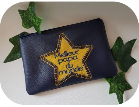 machine embroidery  pencil case applique star  ith