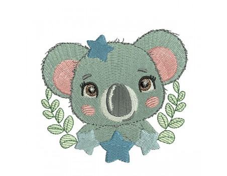 Motif de broderie machine koala étoiles