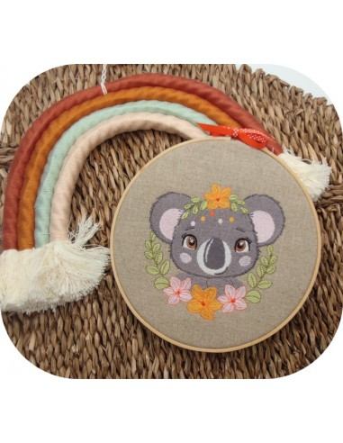machine embroidery design koala with flowers
