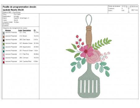 machine embroidery design shabby flat spatula flowers