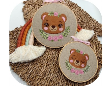 machine embroidery design bear   with flowers