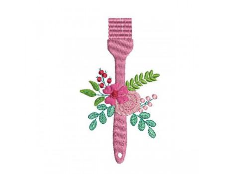 machine embroidery design shabby kitchen brush flowers