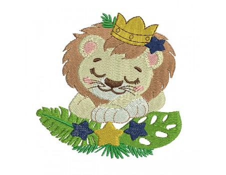 Motif de broderie machine le lion couronné endormi