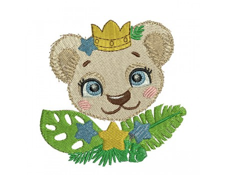 machine embroidery design crowned lion with star