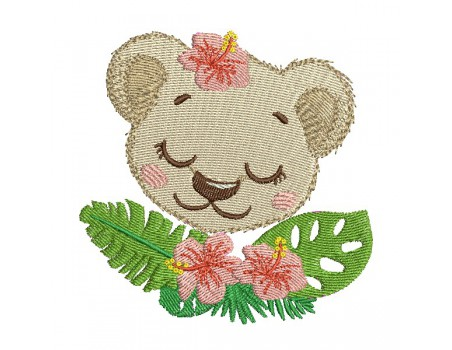 machine embroidery design sleeping  lion  with flowers