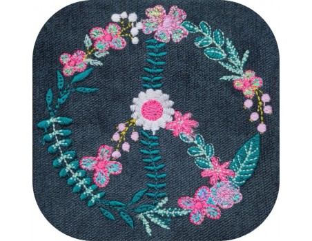 machine embroidery design flowers mylar peace and love