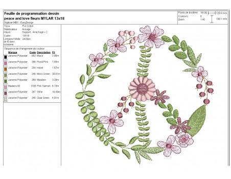 Motif de broderie machine peace and love fleurs mylar